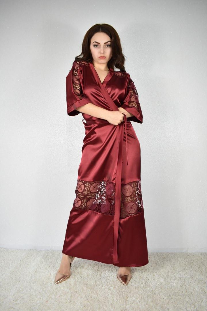Женский халатик молодёжный длинный с кружевом Турция, фото 1