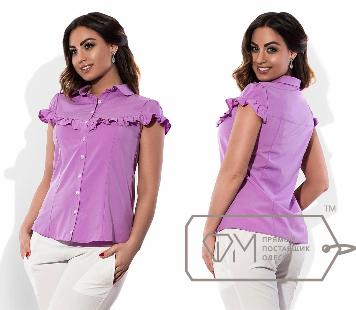 Женская батальная блуза с рюшами