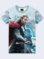 Яркая мужская 3D-футболка Thor с принтом/рисунком героя комиксов  для стильных и модных.