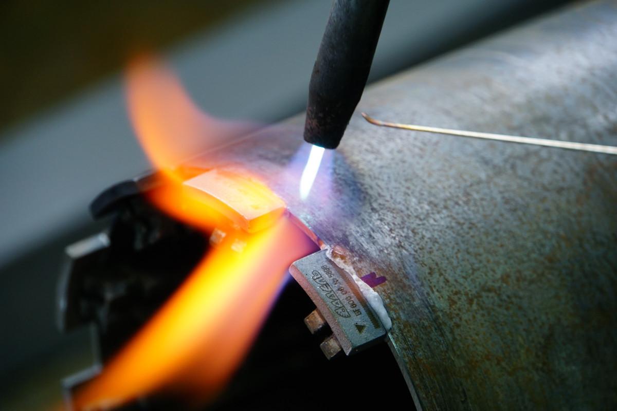 Реставрация алмазных коронок Ø 112 методом напайки сегмента RS5H