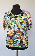 Цветочная женская блуза комбинированная с гипюром