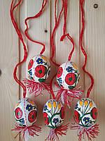 Пасхальные писанки 60х45 на ниточке, цветочный орнамент, белые