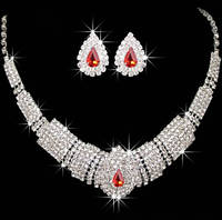 Комплект Кристалл Красный камень /серьги и колье/бижутерия/цвет серебро