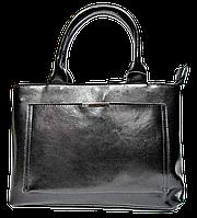 Строгая женская сумка из натуральной кожи черного цвета DDR-007585