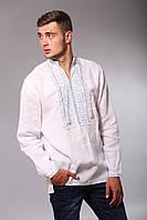 Белая мужская вышиванка с длинным рукавом