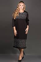 Платье Пиастра (черный) ниже колена с бархатной накаткой большого размера 54-60 батал