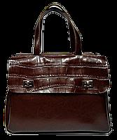 Оригинальная женская сумка из натуральной кожи коричневого цвета QQI-033333