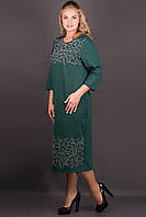 Платье Пиастра (зеленый) ниже колена с бархатной накаткой большого размера 54-60 батал 60