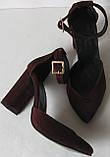 Mante! Красивые женские замшевые босоножки туфли каблук 10 см весна лето осень марсала замша, фото 3