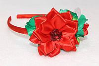 Обруч для волос ручной работы Цветок бабочка красный