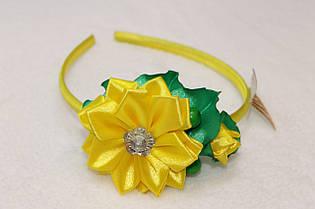 Обруч для волос ручной работы Цветок бабочка желтый