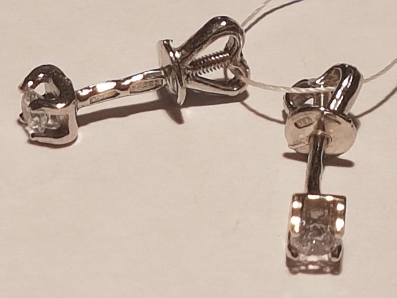 Серебряные пуссеты с фианитами. Артикул 2287