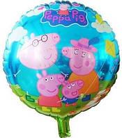 Воздушный шарик из фольги Свинка Пеппа семья диаметр 45 см.