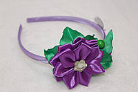 Обруч для волос ручной работы Цветок бабочка фиолетовый
