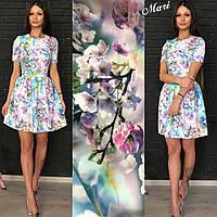 Платье короткое летнее с цветочным принтом