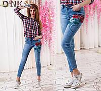 Джинсы женские зауженные ,джинс стрейч Труция цветок(ручная работа)., производство Турция дг № 0620