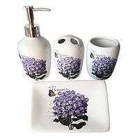 Набор 4предмета (мыльница, подставка для зубных щеток, стакан, диспенсер для мыла) 'Сирень'