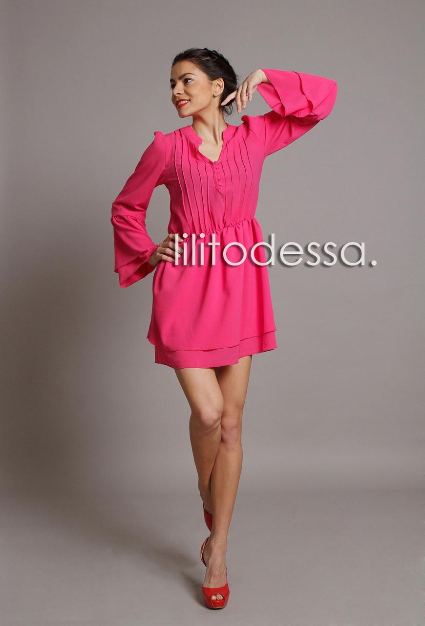 Платье с широким рукавом малиновый