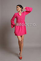 Платье с широким рукавом малиновый, фото 1
