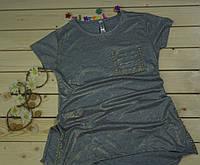 Модная футболка-туника  на девочку рост 140-158