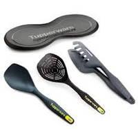 Набор: Мастер-щипцы, ложка для смешивания, шумовка, подставка под ложку Tupperware