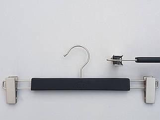 Довжина 36 див. Плічка вішалки тремпеля дерев'яні soft-touch чорного кольору обгумовані для штанів і спідниць