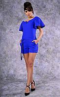 Женский комбинезон с шортами и пояском (синий)