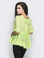 Легкая женская шифоновая блуза с бантом на спинке р.42,44,46,48,50
