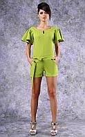 Женский комбинезон с шортами и пояском (зеленый)