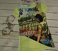 Модная футболка на девочку рост 128-164