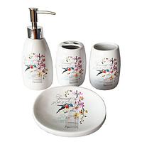 Набор 4предмета (мыльница, подставка для зубных щеток, стакан, диспенсер для мыла) 'Птичка'