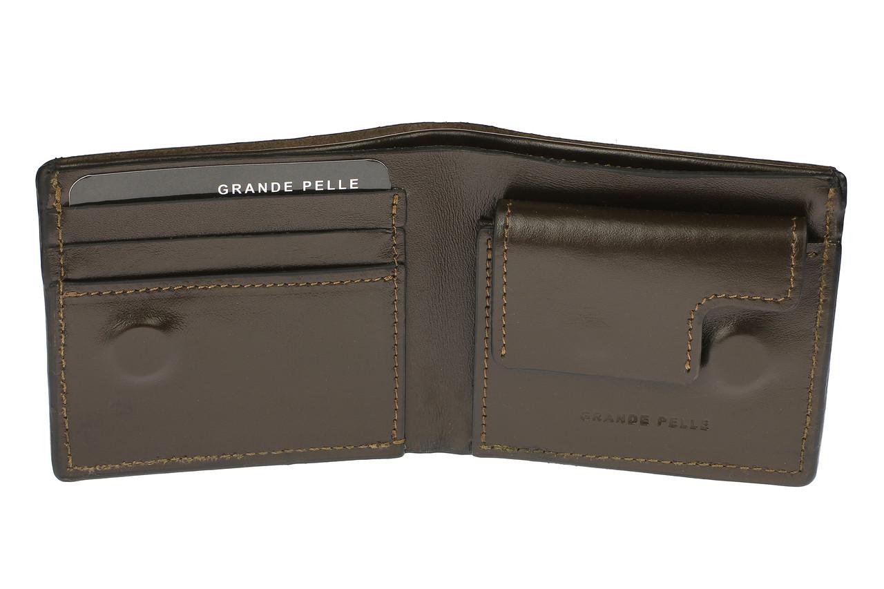 Портмоне на магнітній застібці Grande Pelle 110х90х15 мм глянцева шкіра шоколад