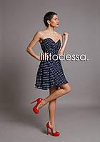 Коктейльное платье в горох темно-синий, фото 1