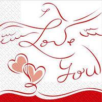 Салфетки Марго 33х33 Свадебные голуби 3-шар. 50 шт 0126383 (0126383 x 37799)