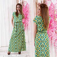 """СЛетнее длинное женское платье до больших размеров 448 """"Штапель Японка Орнамент"""""""