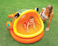 Детский надувной бассейн 57109 с крышей в виде рыбки, детские надувные  бассейны, игры для детей, Интекс