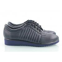 Женские кроссовки из темно-синей кожи с перфорацией спереди, фото 1