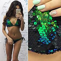 Женский купальник треугольник из пайетки хамелеон \ зелено-черный