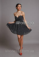 Коктейльное платье в горох черный