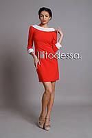 Платье с вырезом-лодочкой алый, фото 1