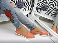 Женские туфли лоферы, натуральная кожа, кораловые /  лоферы женские 2017, подошва 1,5 см, модные