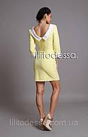 Платье с вырезом-лодочкой желтый, фото 1