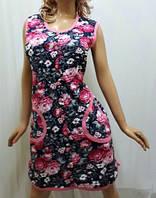 Халат женский на пуговицах большого размера 54,56,58 розовый