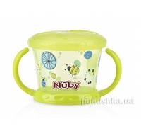 Тарелочка для сухих завтраков с ручками зеленая Nuby 5564grn