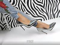 Женские туфли лодочки на шпильке 10,5 см, эко кожа/ зеркальные туфли женские, 2017