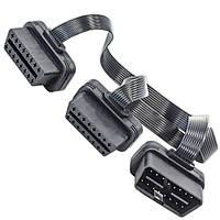 ★Разветвитель Lesko OBD2 х 2OBD2 для сканера автомобиля удлинитель универсальный два разъема напряжение 12V