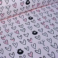 Футер с мишками и сердечками на бледно-розовом №0063