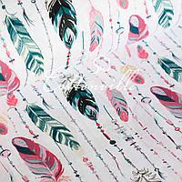Хлопковая ткань Перья с бусинами пастель