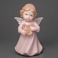 """Фарфоровая статуэтка """"Ангелок с арфой"""" 13 см подарок для любимой"""