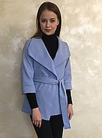 Пальто на запах из кашемира голубого цвета